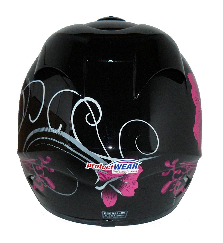 Protectwear Casco de moto p/úrpura negra disena flores  FS-801-SL Tama/ño S