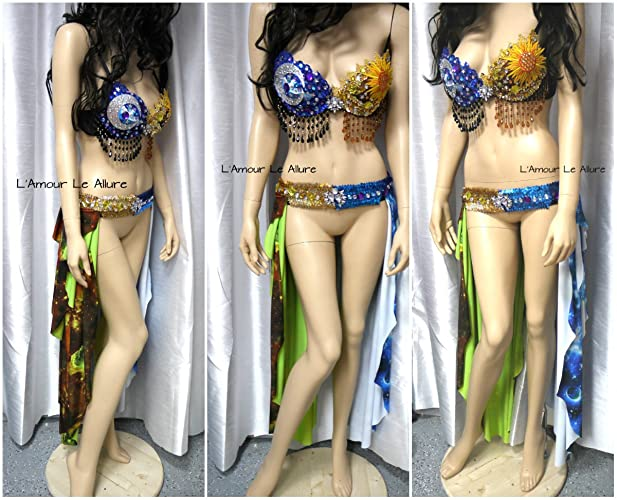 d68076f2d85 Amazon.com: Sun and Moon Belly Dancer Gypsy Bra and Skirt Rave Bra ...