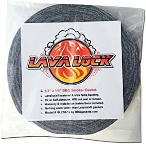 "LavaLock® Grey Gasket High Temp BBQ Smoker Grill Self Stick 1/2"" x 1/4"" x 15 feet Long"