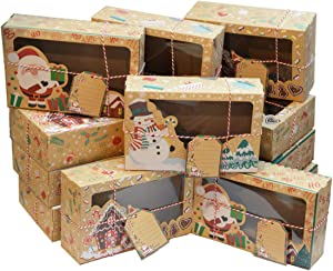 12 Pcs Christmas Cookie Boxes Gift Boxes Cupcake Boxes with Clear Window Paper Xmas DIY Gift Cake Boxes Treats Boxes for For Holiday Christmas Food Containers