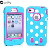iPhone 4s Case, iPhone 4 Case, Magicsky iPhone 4g New Case with Polka Dots Pettern Full Body Hybrid Impact Shockproof...