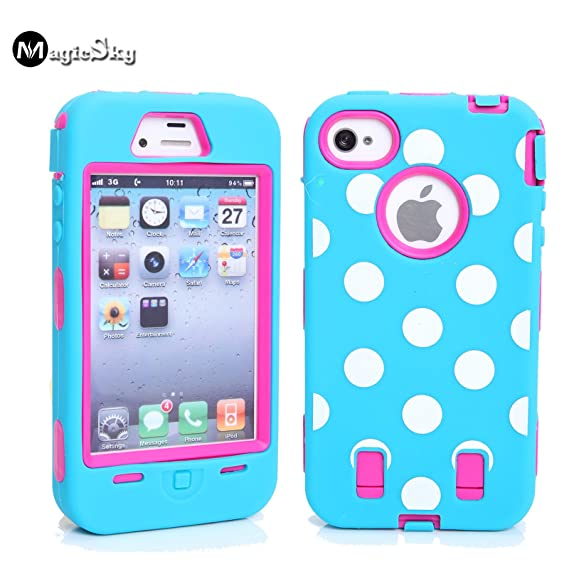 differently fa915 e6e33 iPhone 4s Case, iPhone 4 Case, Magicsky iPhone 4g New Case with Polka Dots  Pettern Full Body Hybrid Impact Shockproof Defender Case Cover for Apple ...