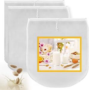 MRbrew Nut Milk Bag, 3 Pieces & 2 Shape 12