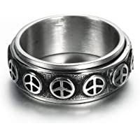 Aokarry Vintage Rings for Men Stainless Steel Peace Sign Pain Rings Bands Silver Black 8.5MM