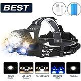 Super Lumineux LED Lampe frontale, sgodde LED Lampe frontale avec 58000LM avec batterie intégrée Tête LED 5modes Idéal pour camping, VTT, la pêche, la cave, Courir, camping, randonnée et spaziereng