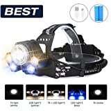 LED Headlamp Head Torch,SGODDE 5 LED 8000LM Super Bright Headlight,Five Modes,Water Resistant Safety Head Lamp,Garden Helmet Light for Biking, Cycling, Climbing, Camping, Dog Walking, Hiking, Fishing, Night Reading, Riding, Running and other Outdoor and Indoor Activitie