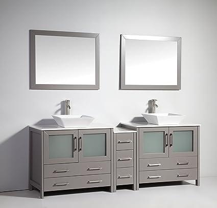Vanity Art 84 Inch Double Sink Bathroom Vanity Set With Ceramic Top With  Free Mirror VA3136