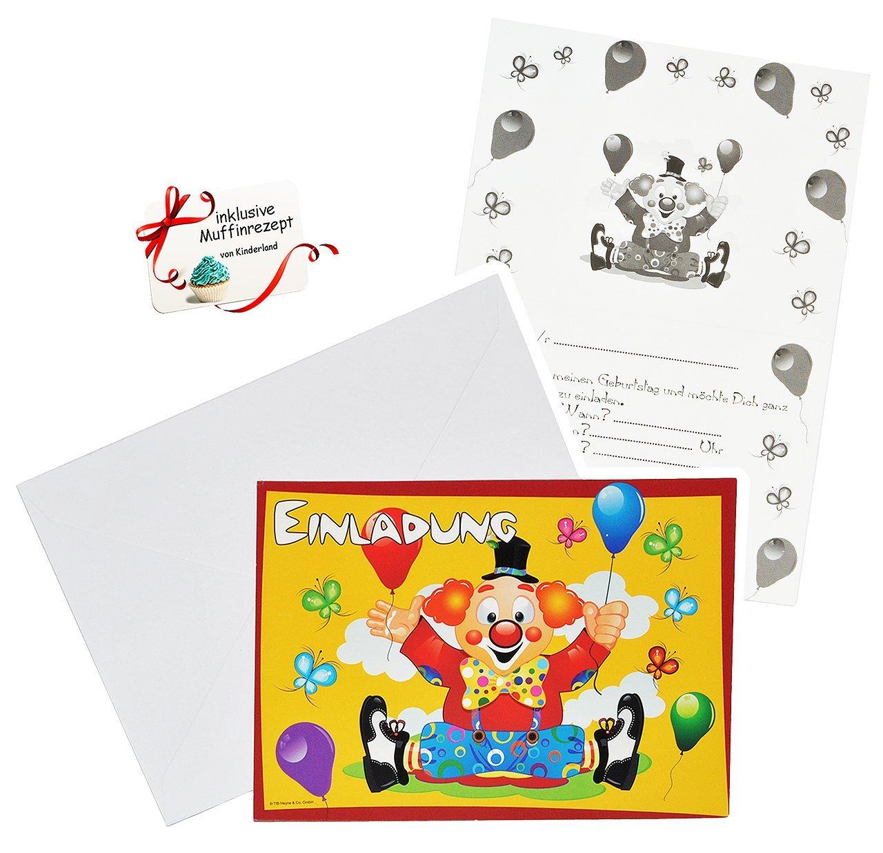 Set Einladungskarten   Clown / Zirkus   Incl. Umschläge   Party Einladung  Karte   Für Kinder   Zirkusclown Schmetterlinge Mädchen Jungen ...