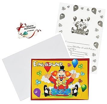 Set Einladungskarten   Clown / Zirkus   Incl. Umschläge   Party