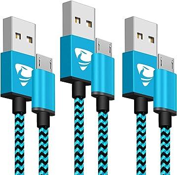 Aione Cable Micro USB [3 Pack, 2M], Cable Cargador Movil,Cargador Android Trenzado de Nylon,Carga Rápida Compatible con Samsung Galaxy J7 J5 J4 J3 S7 S6 Edge A10 A10s,Huawei P8 Lite,Sony,Xiaomi,PS4: Amazon.es: Electrónica