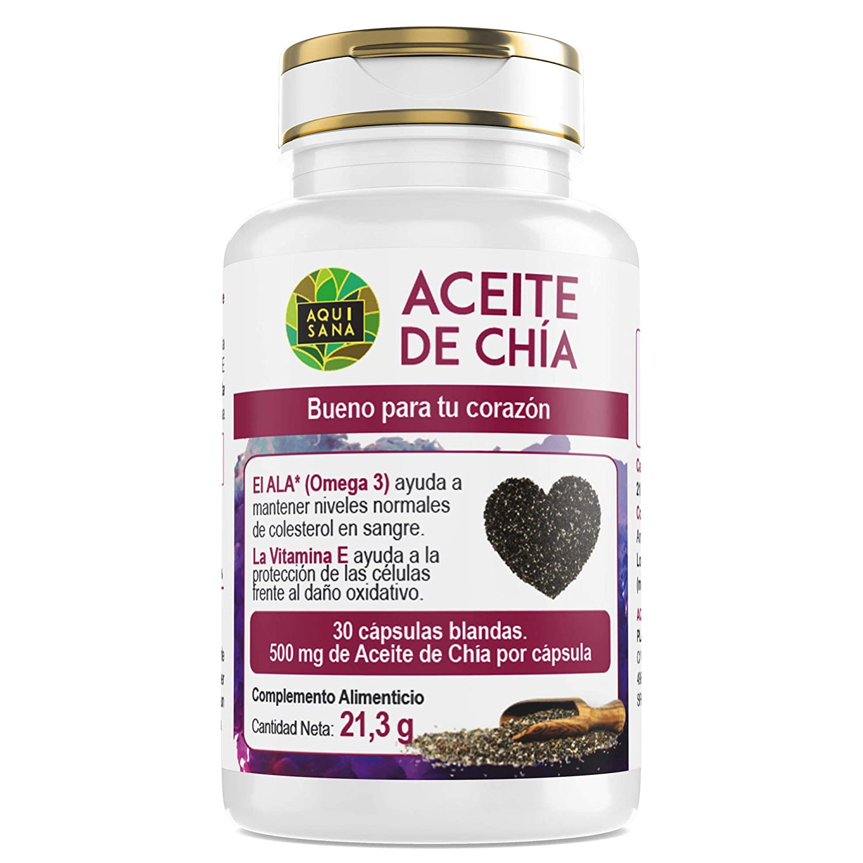 Aceite de Chía -Aquisana | salud para nuestro organismo - Complemento alimenticio de cápsulas de chía | Extracto de semillas de chía con omega 3, 6 y ...