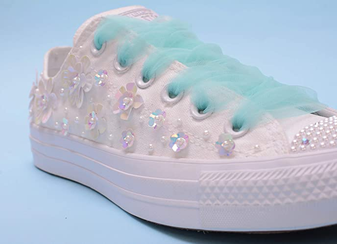 1c11d1f9de9 Amazon.com: Shiny White Wedding Sneakers For Bride, Lace Bridal ...