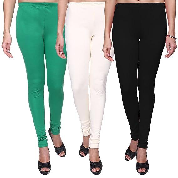 405450b700c32b Trasa Women's/ Girl's Cotton Lycra Churidar Leggings (Black, White, Green) -