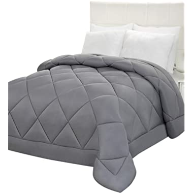 Utopia Bedding Comforter Duvet Insert - Quilted Comforter with Corner Tabs - Plush Siliconized Fiberfill, Box Stitched Down Alternative Comforter, Machine Washable (Grey, Queen)
