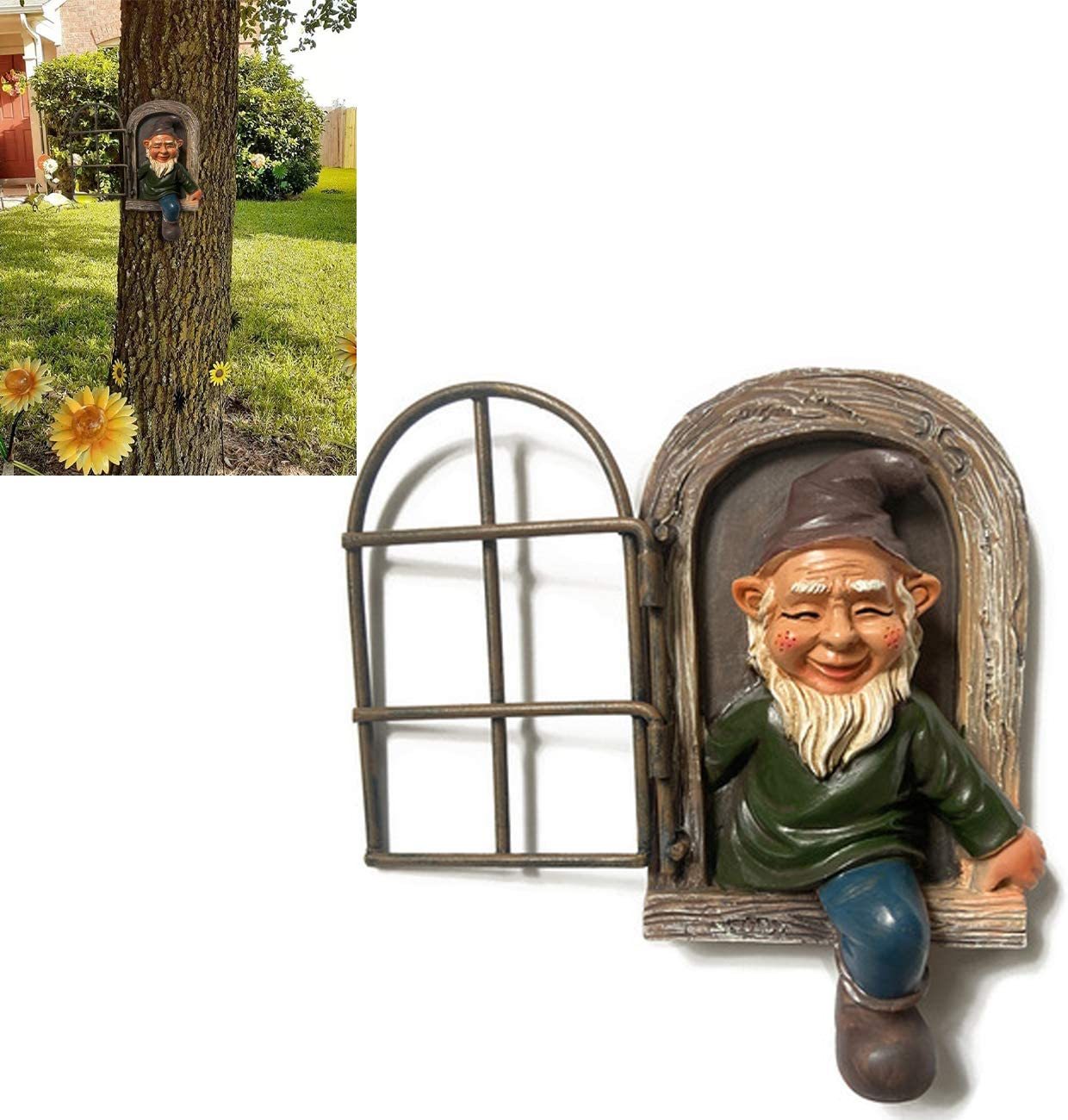 TAIYANYU Elf Out The Door Tree Hugger, Naughty Garden Gnome Peeker, Resin Crafts Whimsical Dwarf Statues (Grandpa Garden gnome)