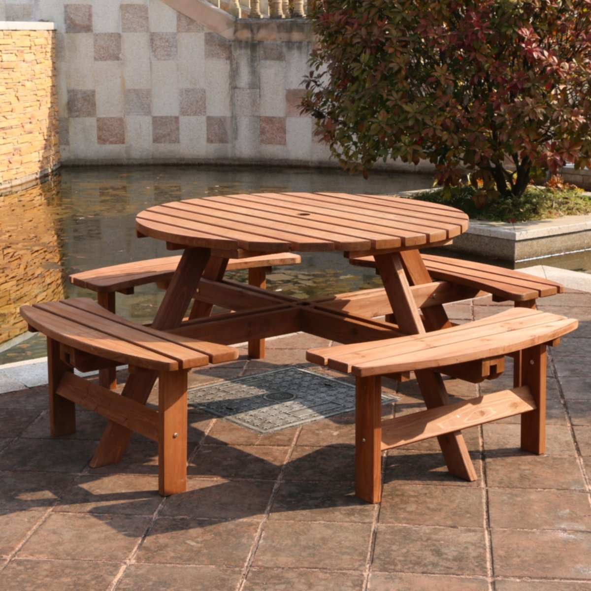 Marvelous Rutland County Garden Furniture Ashwell Garden Wooden Picnic Bench 8 Seater Circular Brown Pub Bench Indoor Outdoor Heavy Duty Timber Cjindustries Chair Design For Home Cjindustriesco