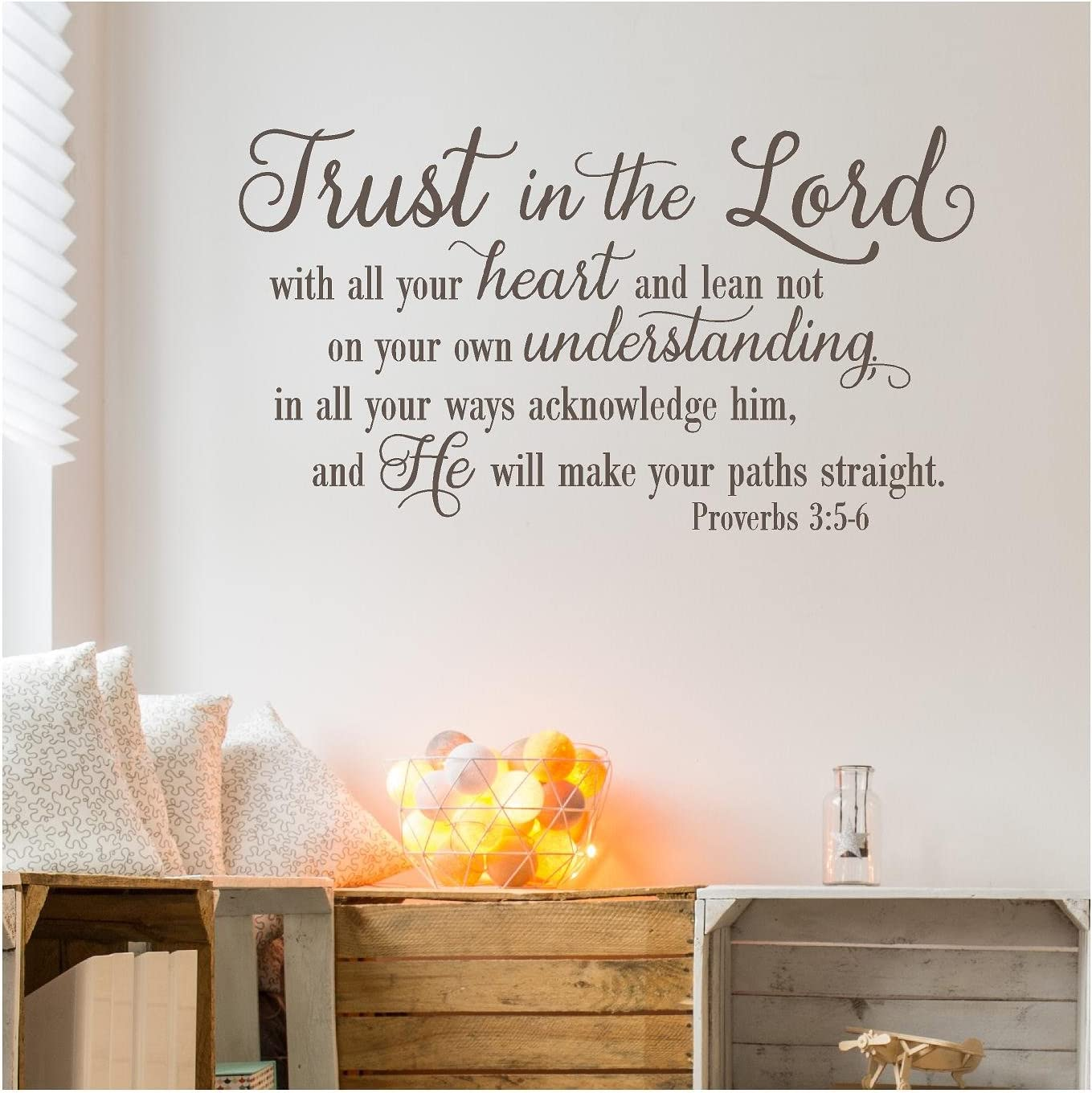 """Trust in The Lord with All Your Heart.Proverbs 3:5-6 Vinyl Lettering Wall Decal Sticker (21""""H x 38""""L, Metallic Bronze)"""