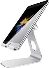 Soporte Tablet Multiángulo, Lamicall Dock iPad : Ajustable de 4'' a 13'' para Tablets Celular como iPad mini air 1 2 3 4 Pro 9.7 10.5 12.9, Huawei, Surface, Kindle, Samsung Tab, E-readers y Teléfonos Accesorios mesa - Plata
