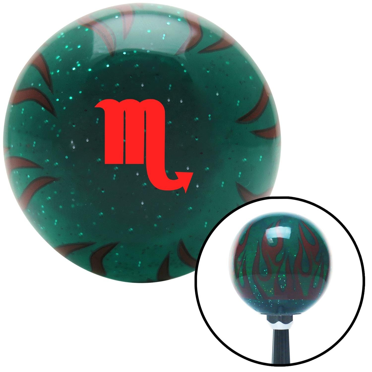 American Shifter 300371 Shift Knob Red Scorpio Green Flame Metal Flake with M16 x 1.5 Insert