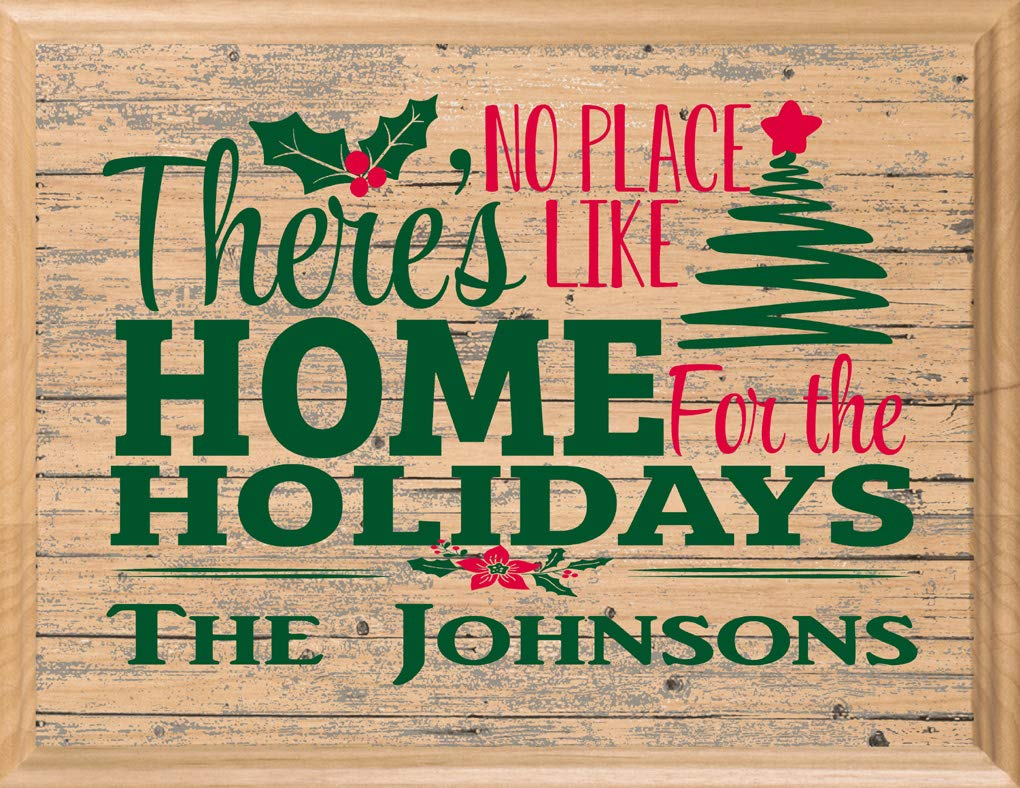 Broad Bay Christmas Sign Wall Décor Personalized Hanging Art No Place Like Home for The Holidays
