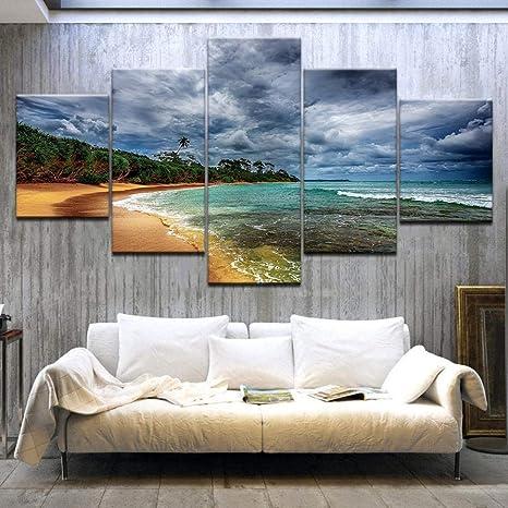 Pintura de la Lona, Marco, 5 Panel HD Playa del Mar Paisaje ...