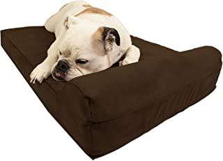 """product image for Barker Junior - 4"""" Pillow Top Orthopedic Dog Bed with Headrest for Medium Size Dogs 30-50 Pounds"""