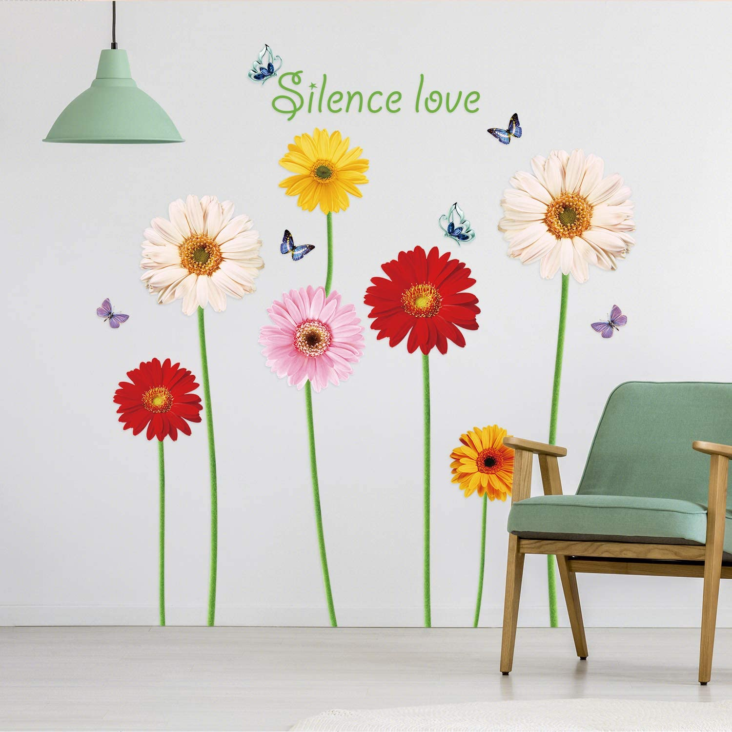 Taciwaz Sunflower Wall Decals with Butterflies Removable Colorful Flower Wall Stickers for Living Room Kids Room Bedroom Decoration