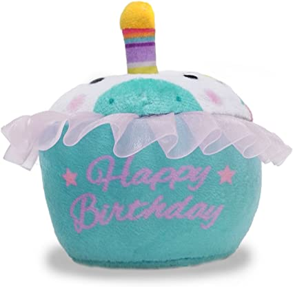 3 colors Cuddle Barn Birthday Cupcake Squeezer Lights Up and Plays Song