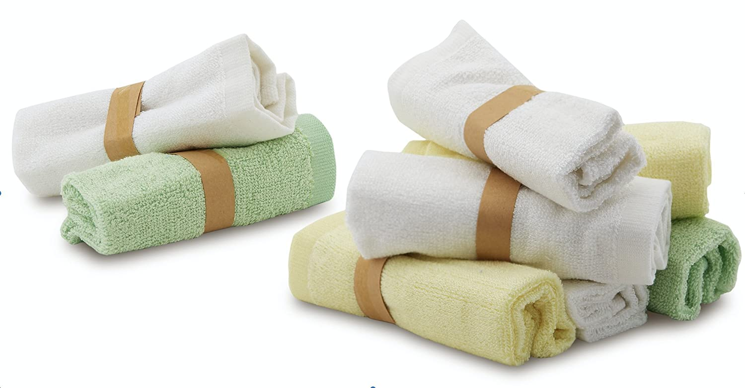 """Enovoe Bamboo Baby Washcloths - 8 Pack of Wash Cloths - Organic, Hypoallergenic, Reusable and Extra Soft for Sensitive Skin - 10""""x10"""" - Neutral Colors Washcloth"""