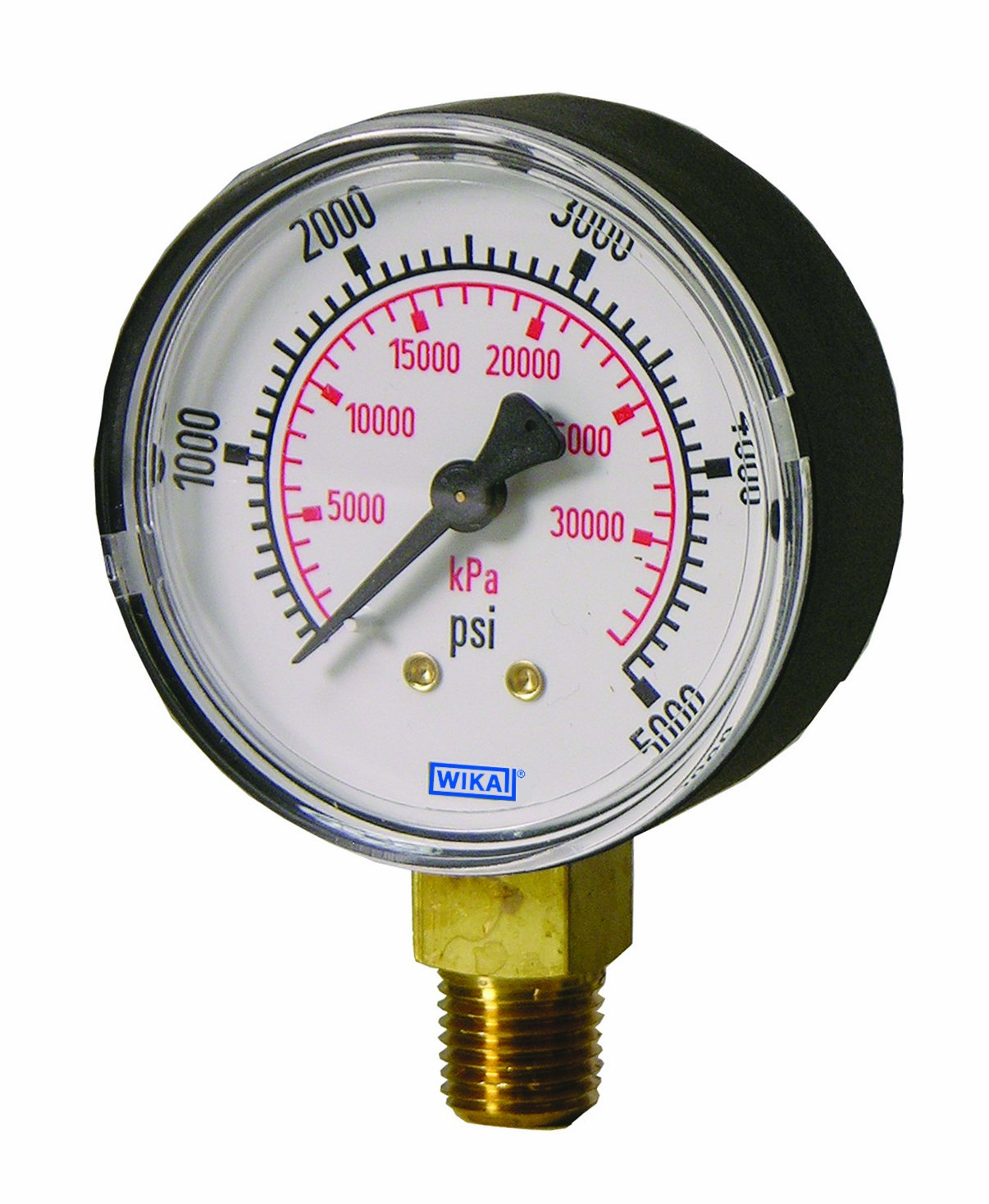 WIKA 9768050 Commercial Pressure Gauge Dry-Filled Copper Alloy Wetted Parts +//-3//2//3/% Accuracy Range 1//4 Male NPT Connection kPa 0-30Hg-0-200 psi 1//4 Male NPT Connection Range Bottom Mount 4 Dial 0-30Hg-0-200 psi 4 Dial kPa