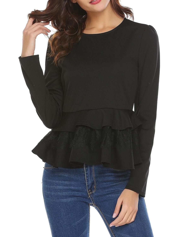 6bd197754f2fd Elover women round neck long sleeve peplum top shirt ruffled layered hem  blouse at amazon womens