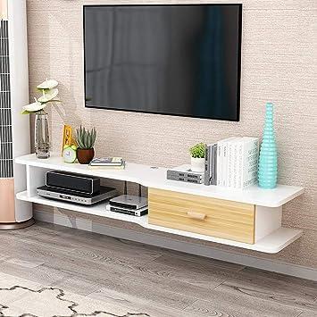 Mueble TV de pared Estante de la pared Estantes flotantes Set top box enrutador foto juguete Reproductor de DVD Repisa de almacenamiento Decoración de la unidad de pared Estante de TV: Amazon.es: