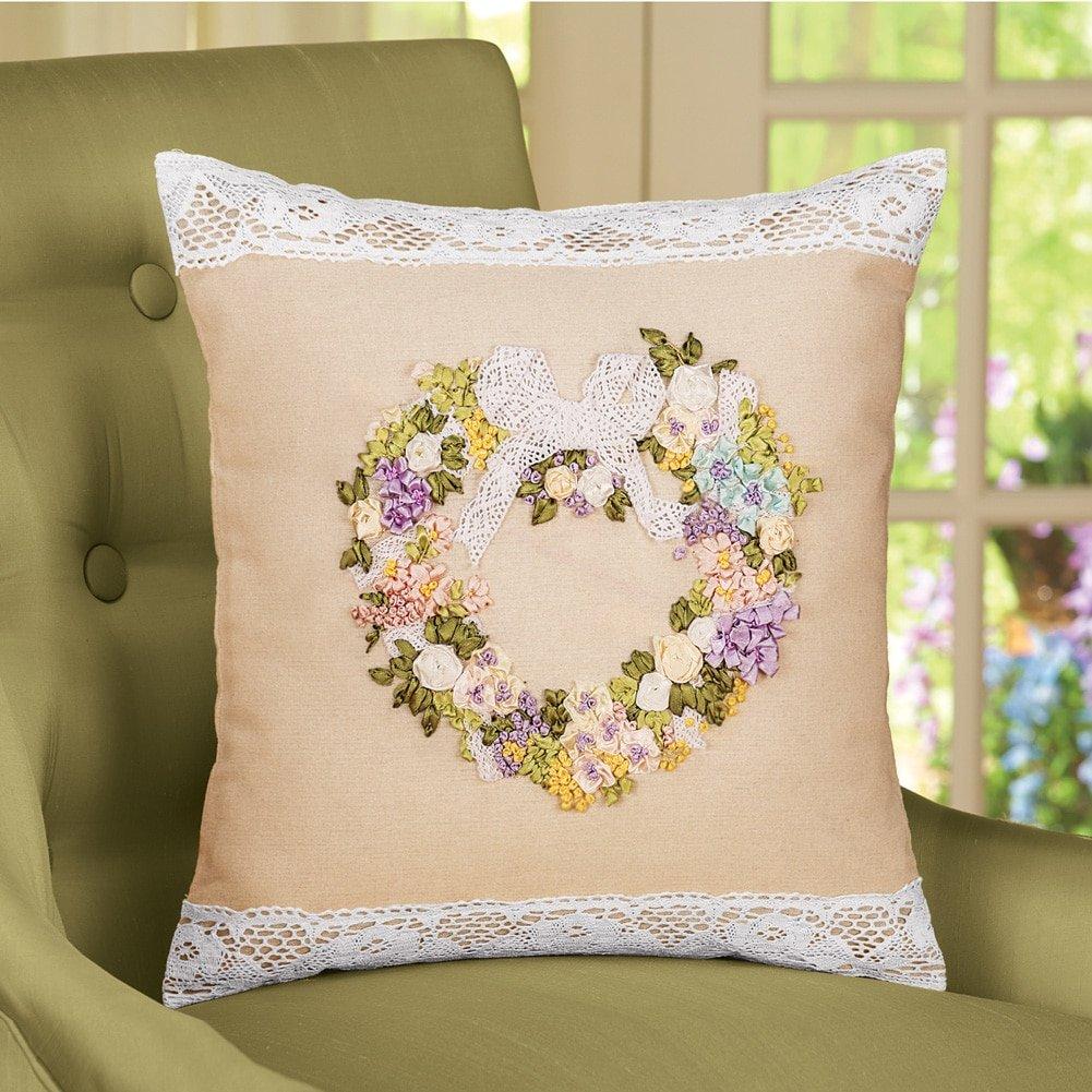 Cinta corazón funda de almohada con borde de encaje: Amazon ...