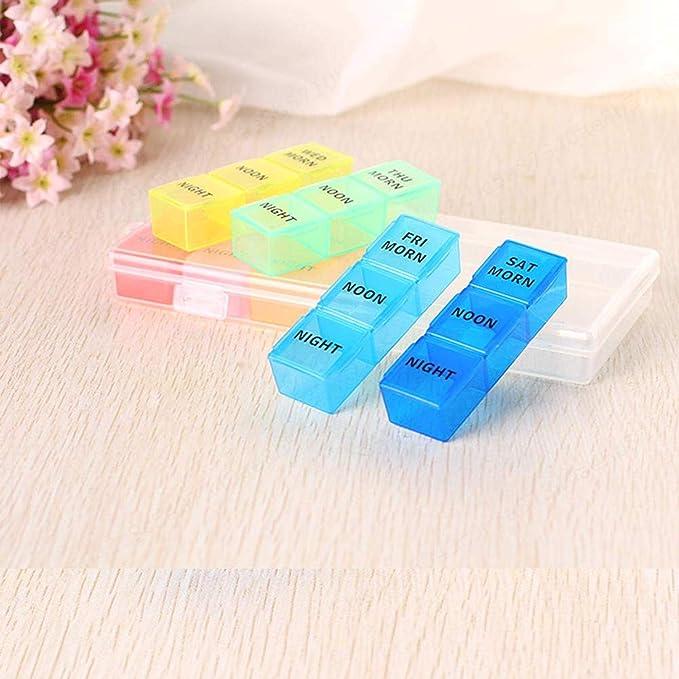 LNIEGE Portapillole 7 Giorni Portapillole 21 Scomparti Scatola Porta Pillole settimanale per farmaci Vitamine Color Arcobaleno