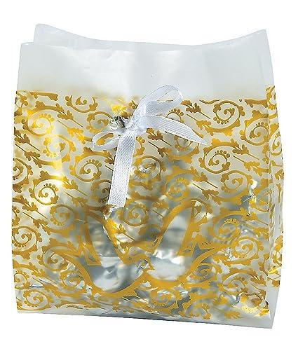Amazon.com: Frosted Oro Boda Favor De Plástico Bolsas De ...