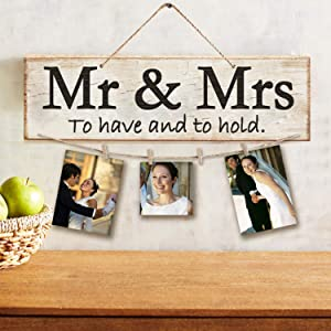 AllesCosy Home Decor New Home Gifts -MR&MRS-Real Pallet Wood Sign for Rustic Home Decor,Clips and Twine for Photo Hanging