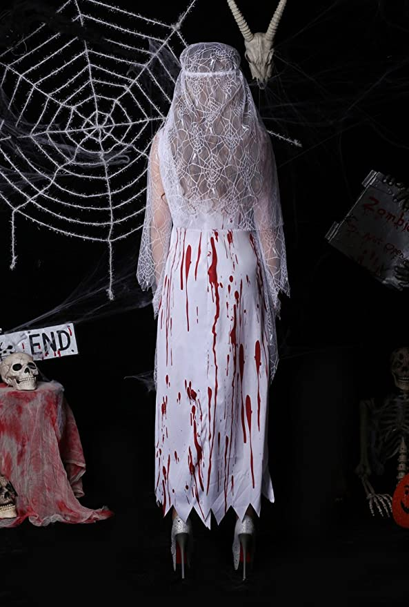 63786a1e5d808 VOVONI LTD Sexy Ghost Costume - Halloween Horrible Bloody Nurse Doctor  Cosplay Costume Scary Dead Ghost Bride Uniform Suit for Adult:  Amazon.co.uk: Clothing