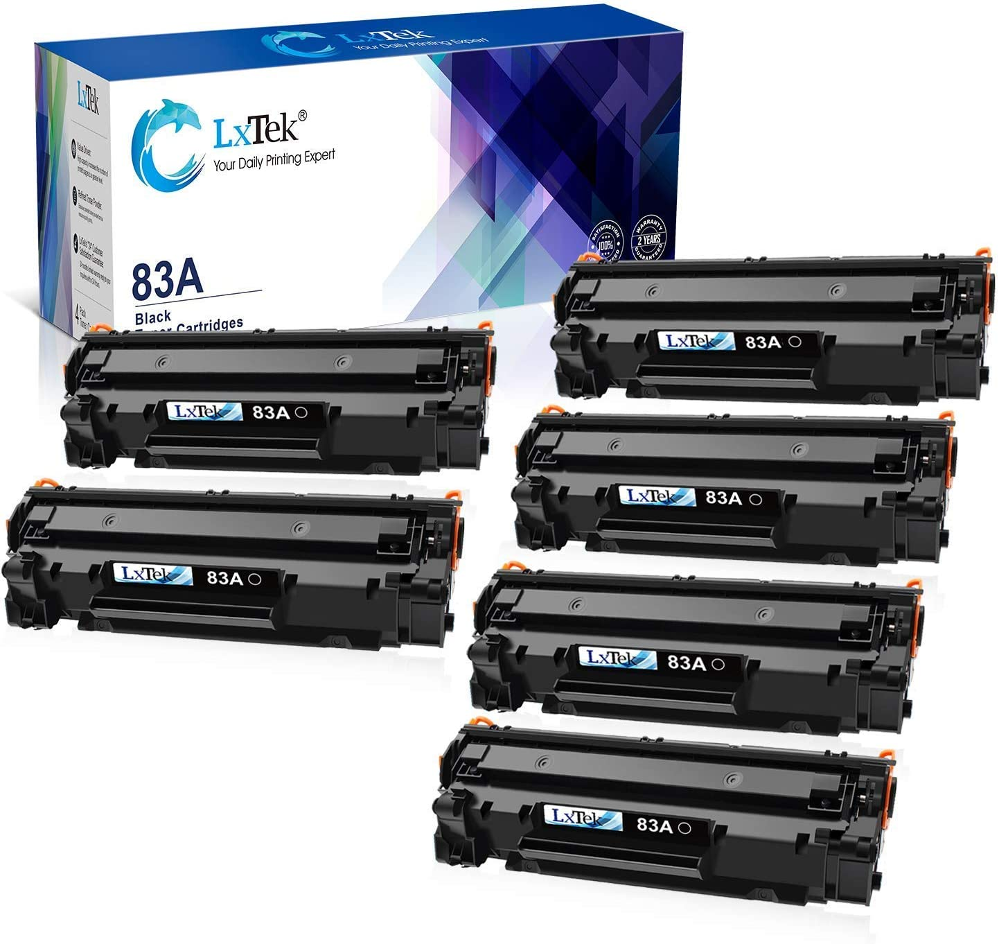 LxTek Compatible Toner Cartridge Replacement for HP 83A CF283A 2 Black Bundled with 4 Black (Total 6 Pack)
