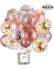 AUSYDE Or Rose Ballons et Ballons confettis Ballons en Latex pailleté Pouces 30 cm pour Douche de bébé Douche Nuptiale décorations 30pcs.