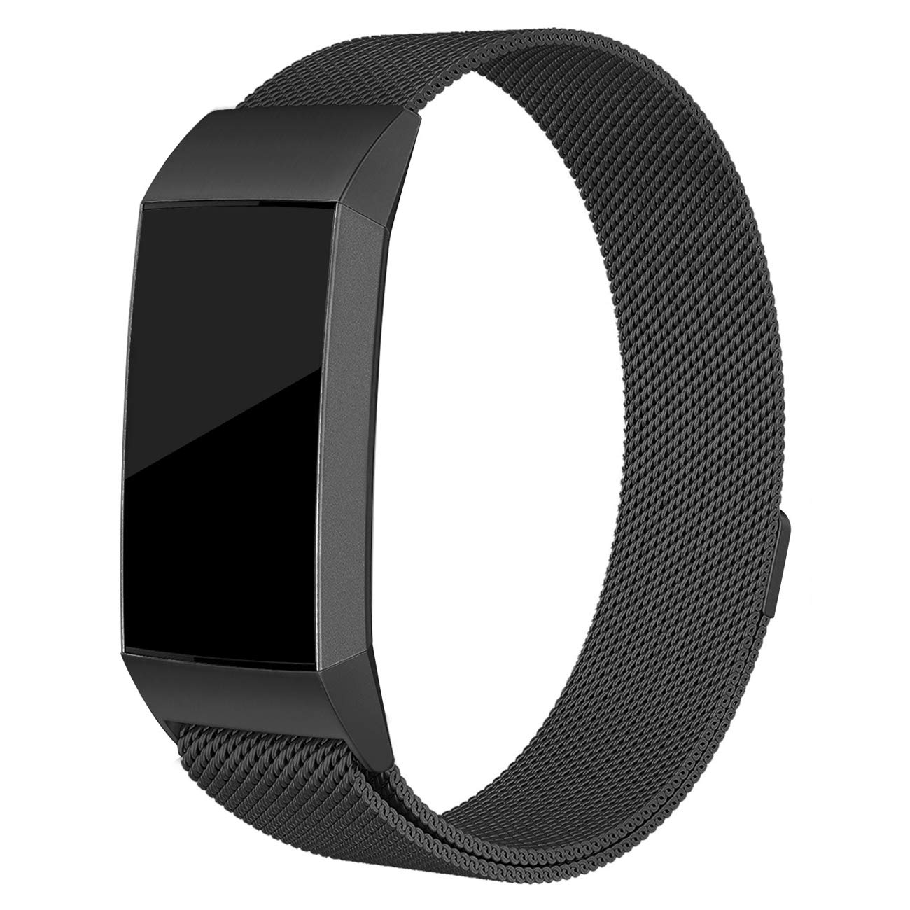 hooroor Compatible Bands Replacement for Fitbit Charge 3 Fitness Tracker Small Large for Women Men, Unique Magnetic Closure Clasp Milanese Loop Stainless Steel Metal Sport Bracelet (Black, Small)