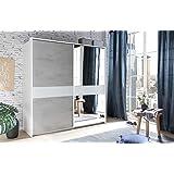 Schwebet renschrank 175 cm weiss betonoptik mit spiegel rauch packs k che haushalt - Kleiderschrank betonoptik ...
