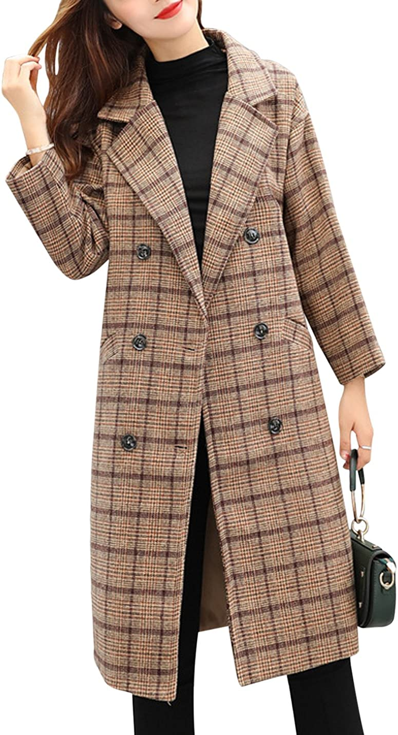 Tanming Women's Double Breasted Long Plaid Wool Blend Pea Coat Outerwear: Clothing