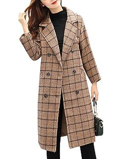Zimaes-Women Lapel Classy Classics Plaid Trench Wool Long Woolen Coat