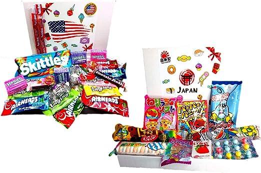 Box Candy American + Box Dulces japoneses importación Japan Snacks Caja de EE. UU. Kit Mezclar Dulces de confitería estadounidenses: Amazon.es: Hogar