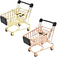 butterfunny 2PCS Shopping Day Grocery Cart Mini Supermarket Handcart Toy Shopping Carts