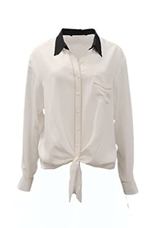 06ae65ea59f0d Image Unavailable. Image not available for. Color  TRINA TURK Womens  Colorblock Silk Tie Front HELINDA Shirt Sz S Whitewash 170116E