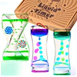 Liquid Timer - Sensory Toy for Relaxation, Liquid Motion Bubbler Timer with Floating Color Lava Lamp, 3-Pack Incredibly Effec