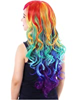 Colorful House Women's Long Wavy Rainbow Cosplay Costume Party Wig