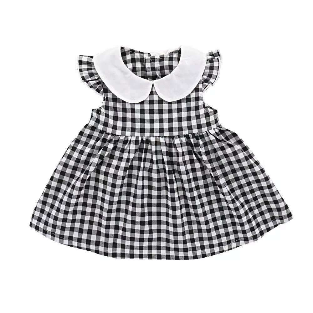 Zerototens Girls Dresses,Toddler Baby Girls Black Plaid O Neck Summer Sundress A-Line Mini Dress Casual Outfits Clothes Beach Dress for 0-2 Years Old