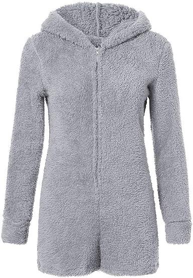 Womens Fluffy Fleece Hooded Rompers Long Sleeve Jumpsuit Bodysuit Shorts Pants